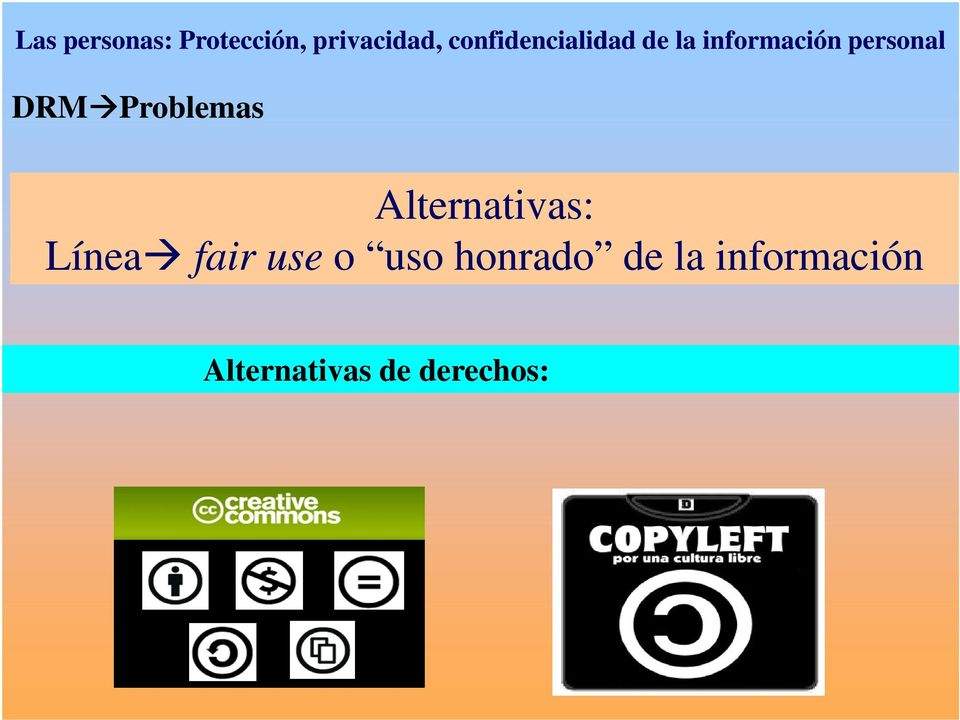 DRM Problemas Alternativas: Línea fair use o