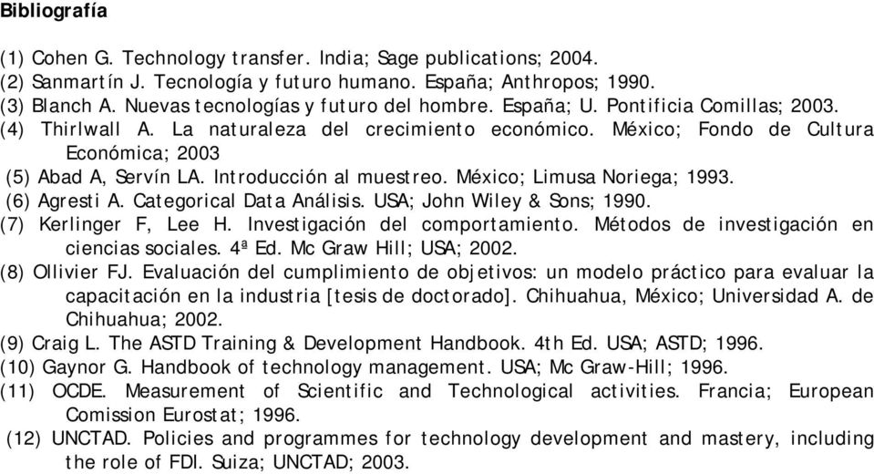 Introducción al muestreo. México; Limusa Noriega; 1993. (6) Agresti A. Categorical Data Análisis. USA; John Wiley & Sons; 1990. (7) Kerlinger F, Lee H. Investigación del comportamiento.
