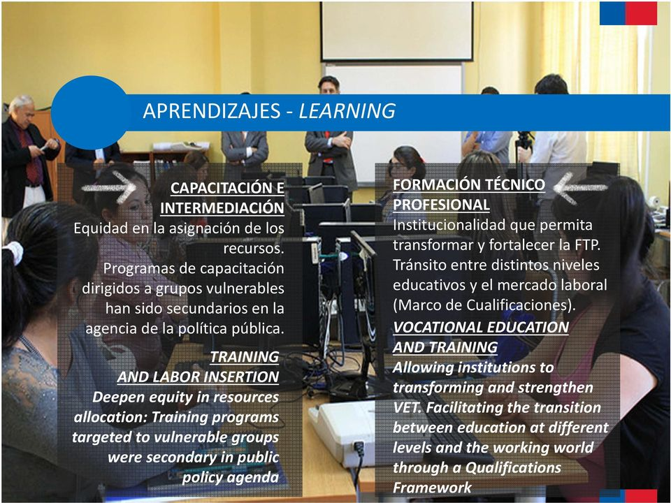 TRAINING AND LABOR INSERTION Deepen equity in resources allocation: Training programs targeted to vulnerable groups were secondary in public policy agenda FORMACIÓN TÉCNICO PROFESIONAL