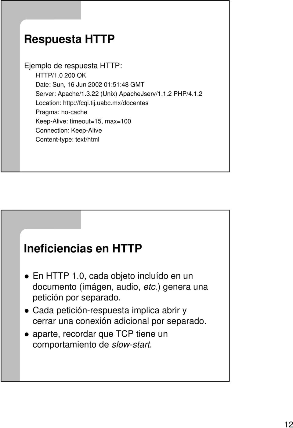 mx/docentes Pragma: no-cache Keep-Alive: timeout=15, max=100 Connection: Keep-Alive Content-type: text/html Ineficiencias en HTTP En HTTP 1.