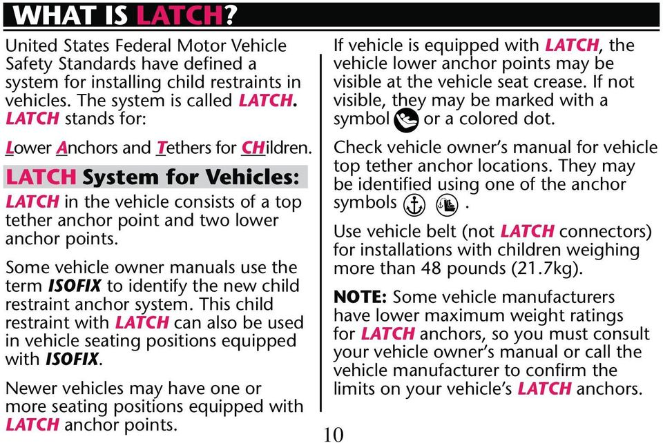term ISOFIX to identify the new child restraint with LATCH can also be used with ISOFIX.
