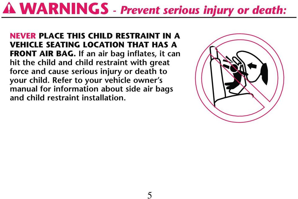 If an air bag inflates, it can hit the child and child restraint with great force and cause