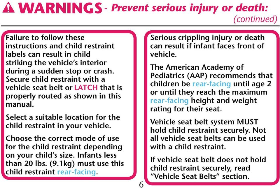 Choose the correct mode of use for the child restraint depending on your child s size. Infants less than 20 lbs. (9.1kg) must use this child restraint rear-facing.