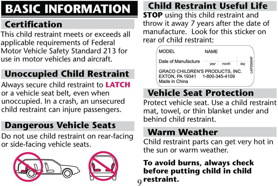 Dangerous Vehicle Seats Do not use child restraint on rear-facing Child Restraint Useful Life STOP using this child restraint and