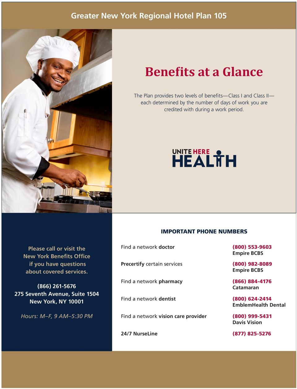Benefits at a Glance. Greater New York Regional Hotel Plan ...