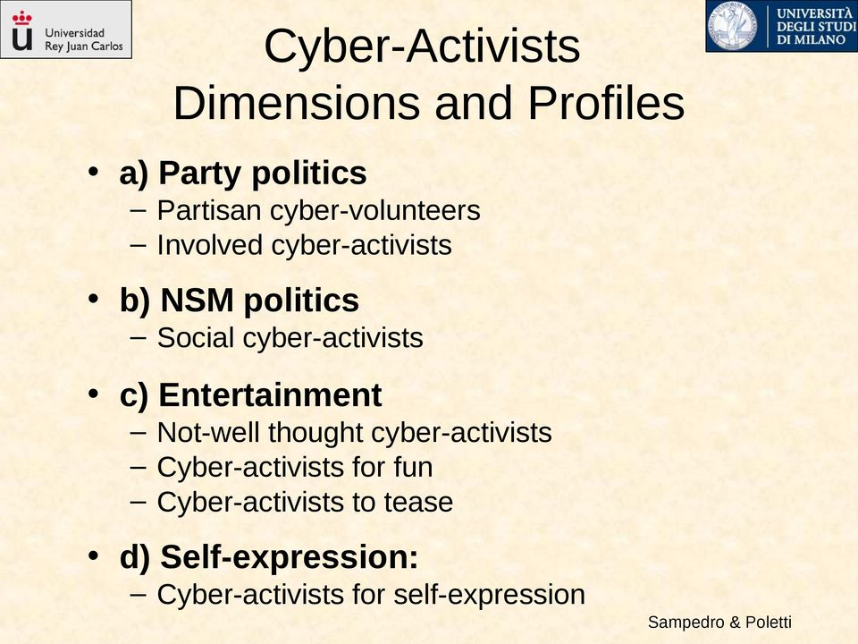cyber-activists c) Entertainment Not-well thought cyber-activists