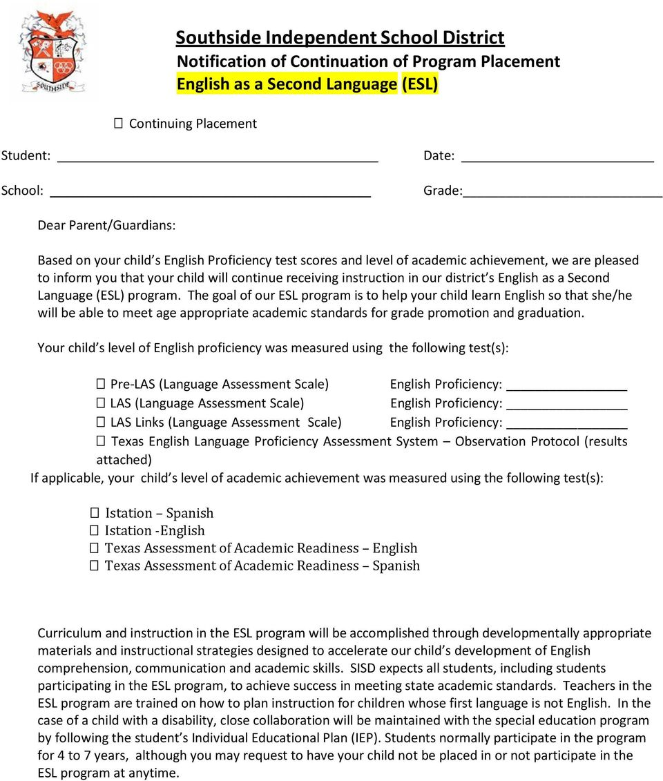 a Second Language (ESL) program.