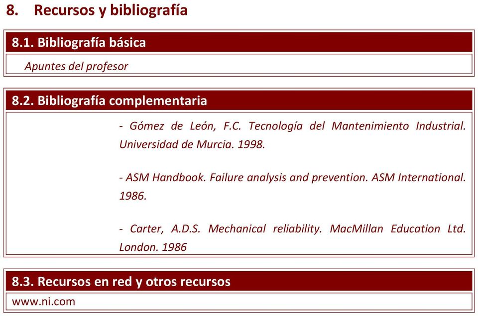 Universidad de Murcia. 1998. ASM Handbook. Failure analysis and prevention. ASM International.
