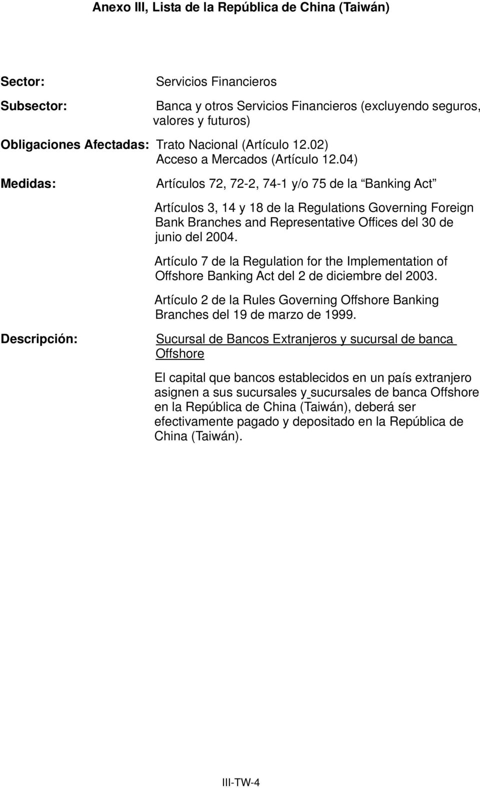 Artículo 7 de la Regulation for the Implementation of Offshore Banking Act del 2 de diciembre del 2003. Artículo 2 de la Rules Governing Offshore Banking Branches del 19 de marzo de 1999.