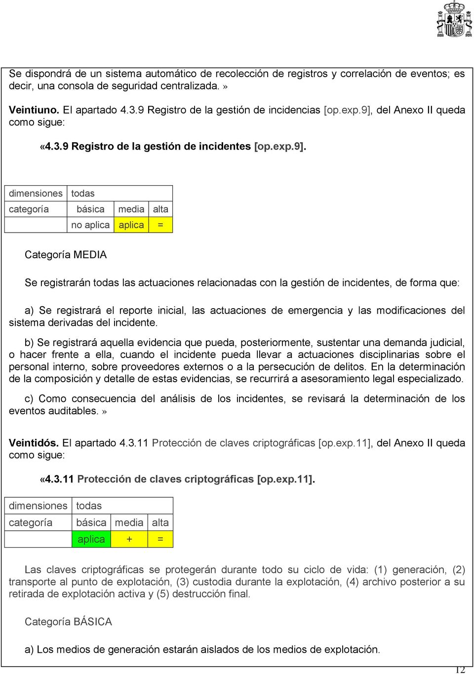 del Anexo II queda como sigue: «4.3.9 Registro de la gestión de incidentes [op.exp.9].