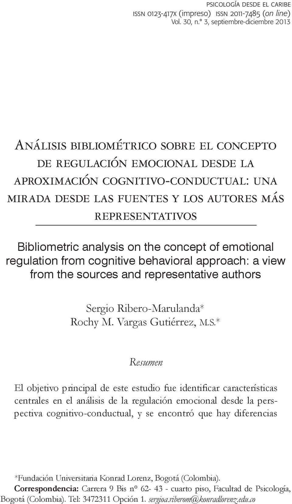 on the concept of emotional regulation from cognitive behavioral approach: a view from the sources and representative authors Se
