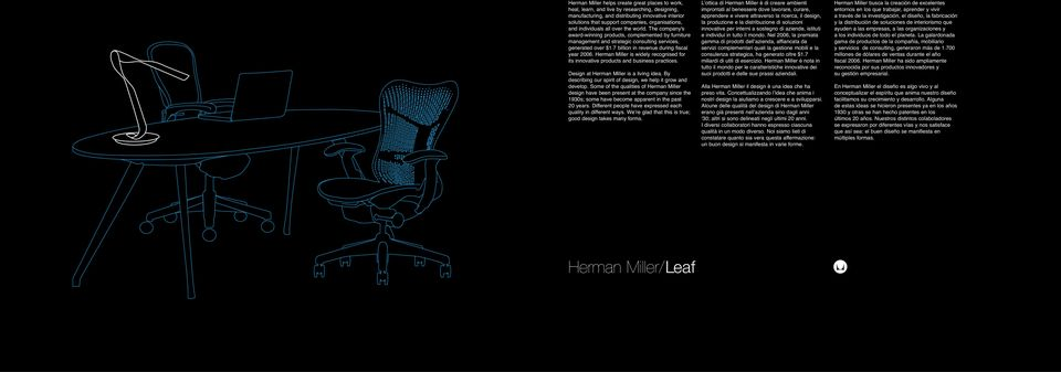 7 billion in revenue during fiscal year 2006. Herman Miller is widely recognised for its innovative products and business practices. Design at Herman Miller is a living idea.