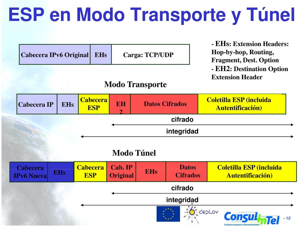 Option - EH2: Destination Option Extension Header Cabecera IP EHs Cabecera ESP EH 2 Datos Cifrados cifrado
