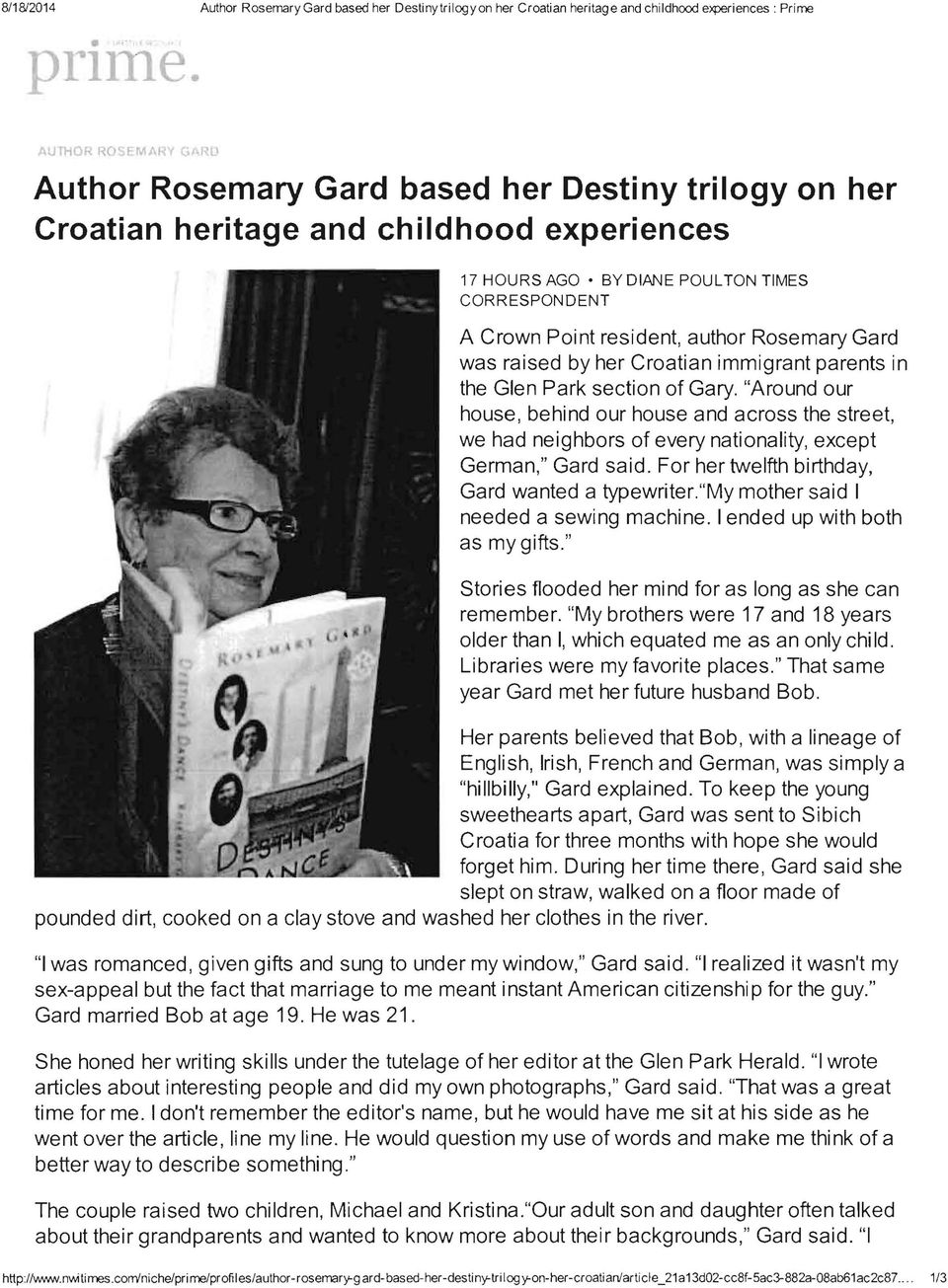 author Rosemary Gard was raised by her Croatian immigrant parents in the Glen Park section of Gary.