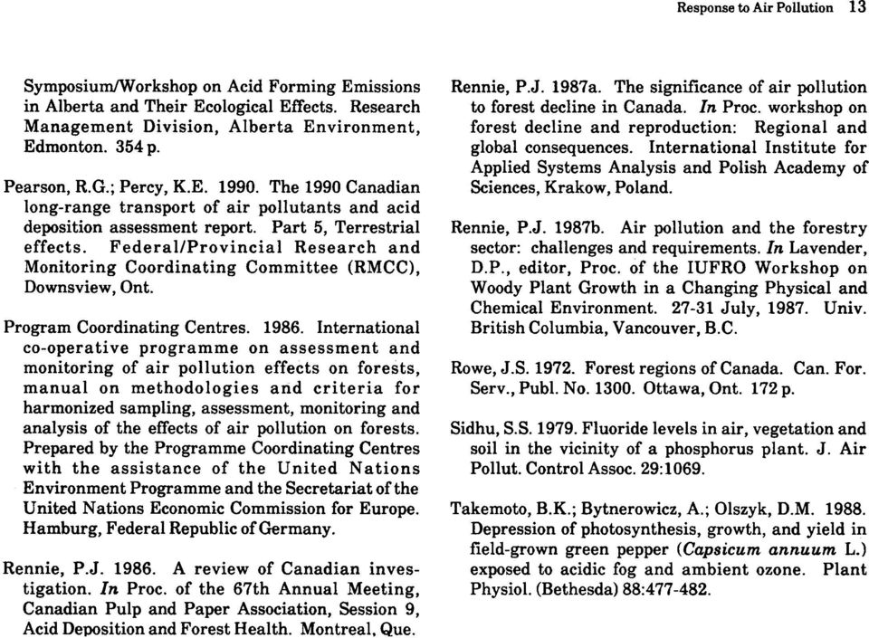Federal/Provincial Research and Monitoring Coordinating Committee (RMCC), Downsview, Onto Program Coordinating Centres. 1986.