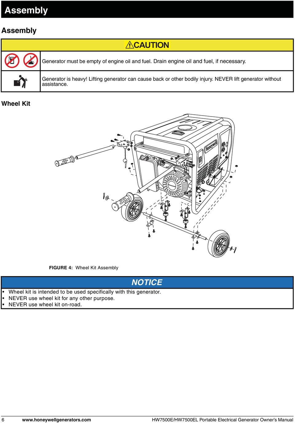 Wheel Kit FIGURE 4: Wheel Kit Assembly NOTICE Wheel kit is intended to be used specifically with this generator.
