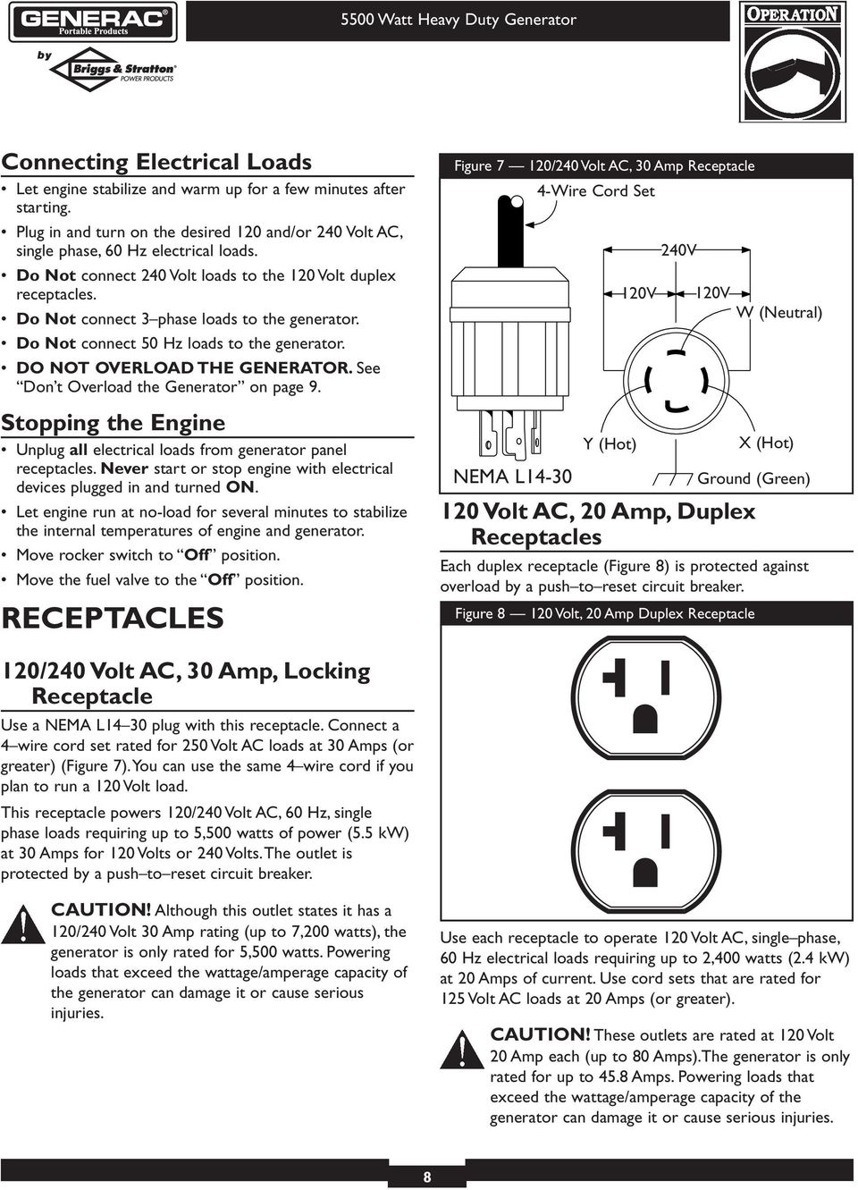 See Don t Overload the Generator on page 9. Stopping the Engine Unplug all electrical loads from generator panel receptacles.
