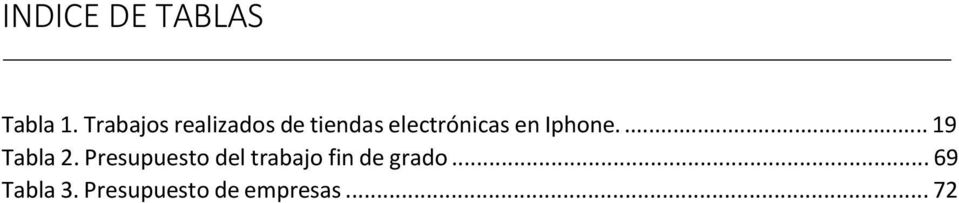 en Iphone.... 19 Tabla 2.