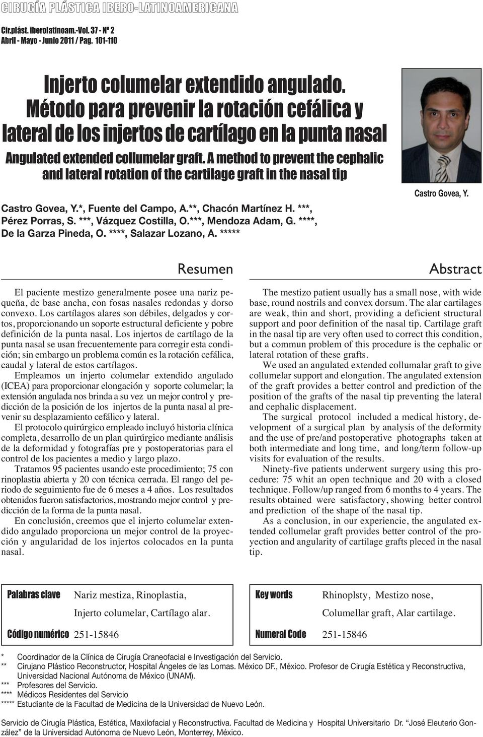 method to prevent the cephalic and lateral rotation of the cartilage graft in the nasal tip Castro Govea, Y.*, Fuente del Campo,.**, Chacón Martínez H. ***, Pérez Porras, S. ***, Vázquez Costilla, O.