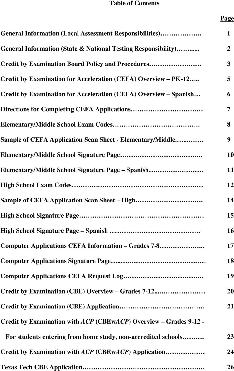 . 5 Credit by Examination for Acceleration (CEFA) Overview Spanish 6 Directions for Completing CEFA Applications 7 Elementary/Middle School Exam Codes.