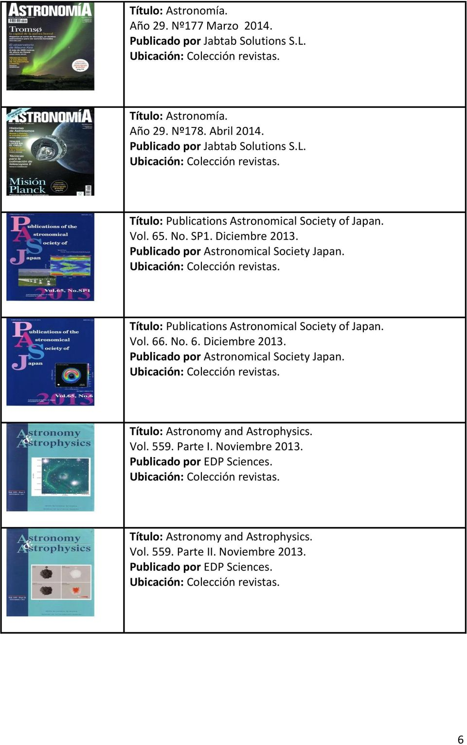 Publicado por Astronomical Society Japan. Título: Publications Astronomical Society of Japan. Vol. 66. No. 6. Diciembre 2013.