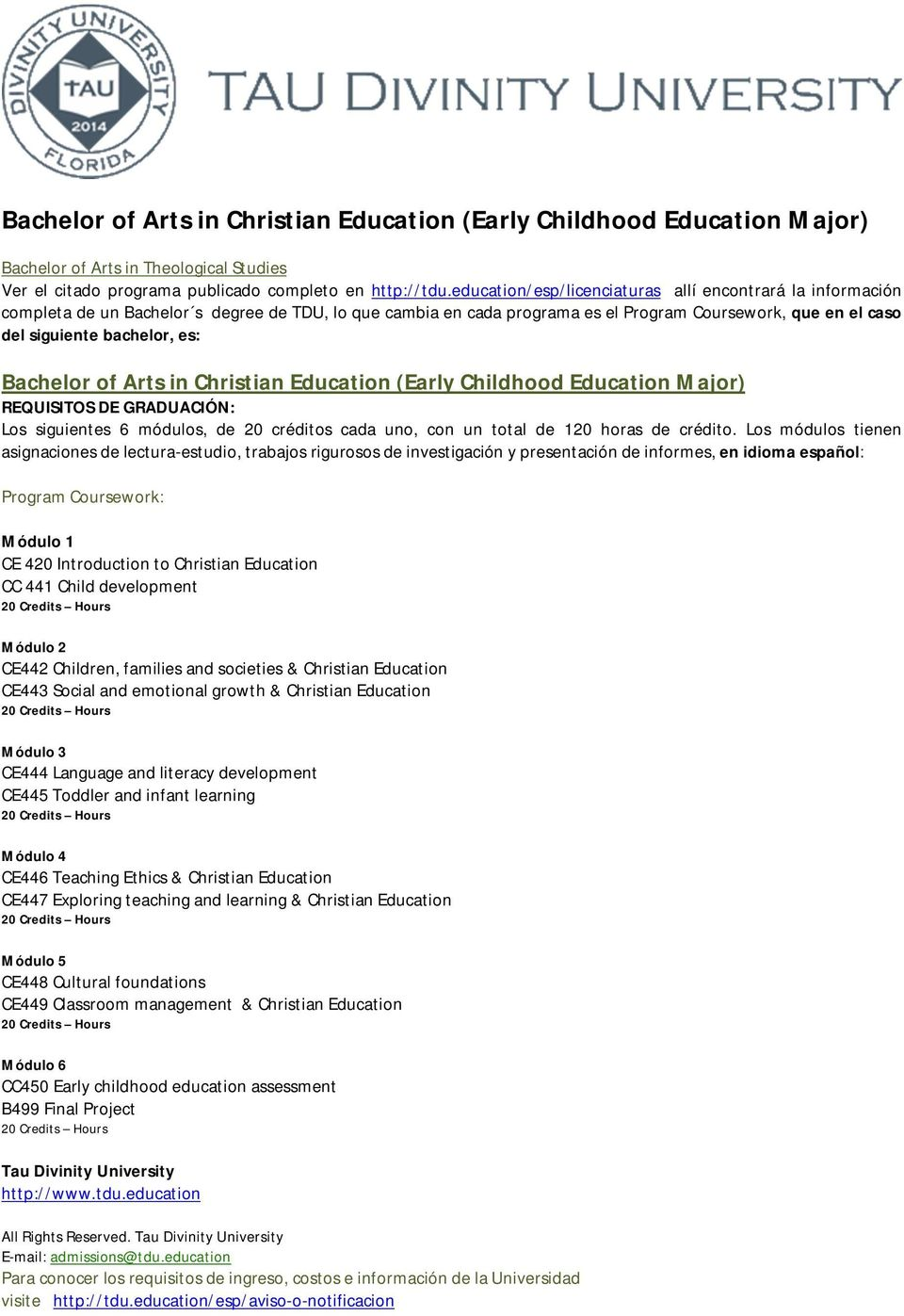 Bachelor of Arts in Christian Education ( Early Childhood Education Major) Los siguientes 6 módulos, de 20 créditos cada uno, con un total de 120 horas de crédito.