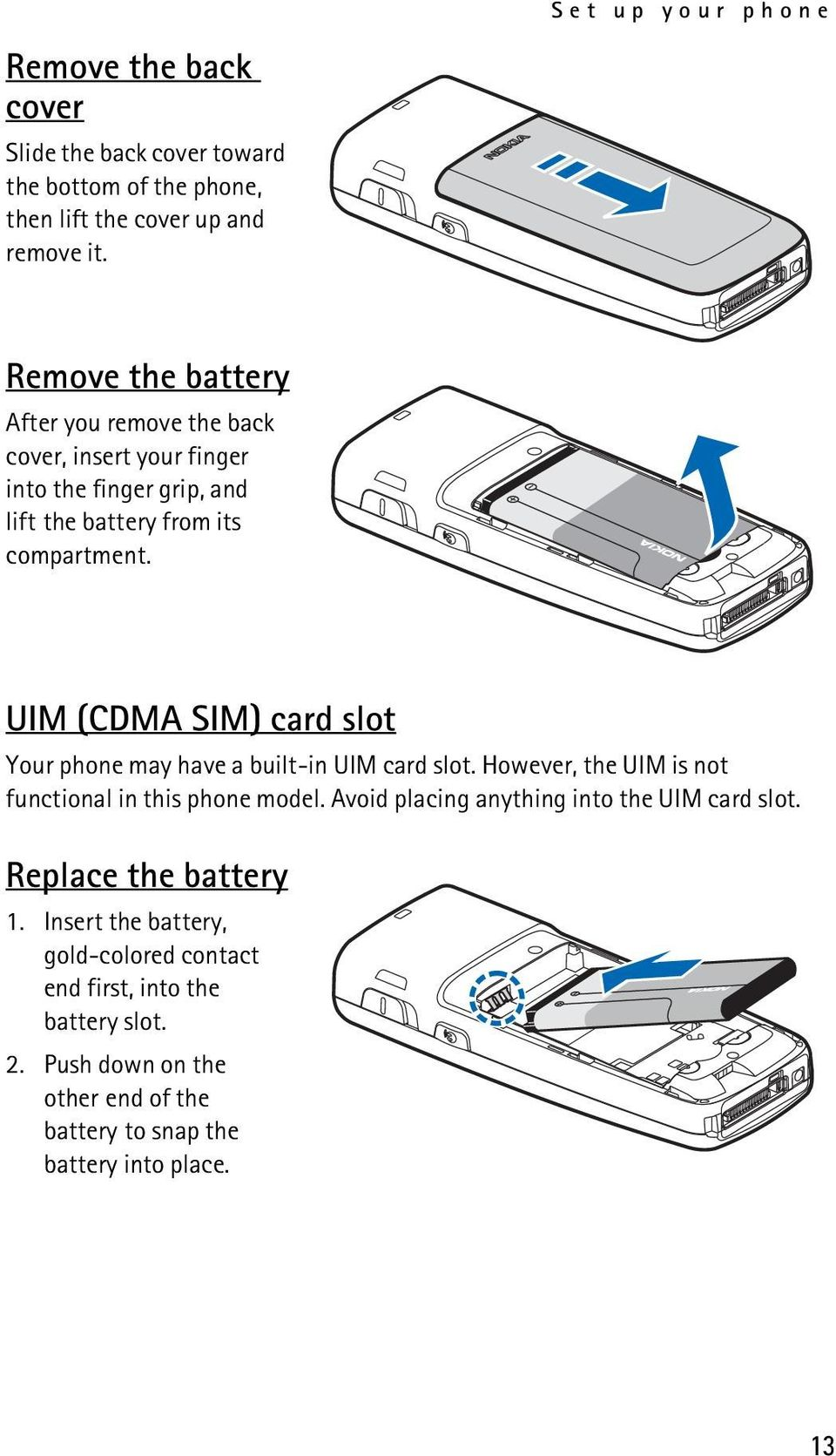 UIM (CDMA SIM) card slot Your phone may have a built-in UIM card slot. However, the UIM is not functional in this phone model.