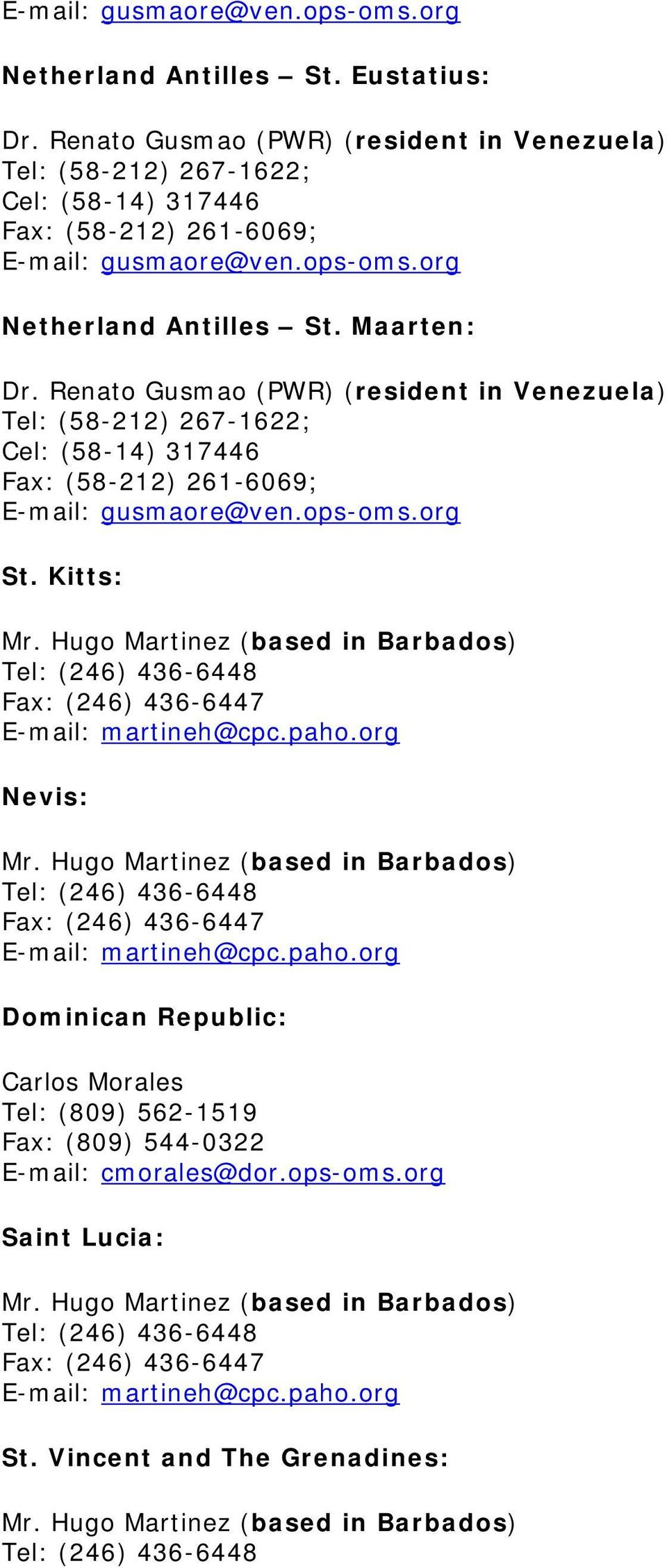 Kitts: Nevis: Dominican Republic: Carlos Morales Tel: (809)