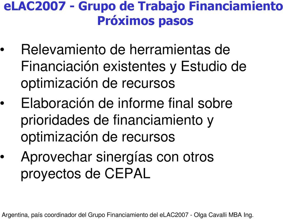 de informe final sobre prioridades de financiamiento y