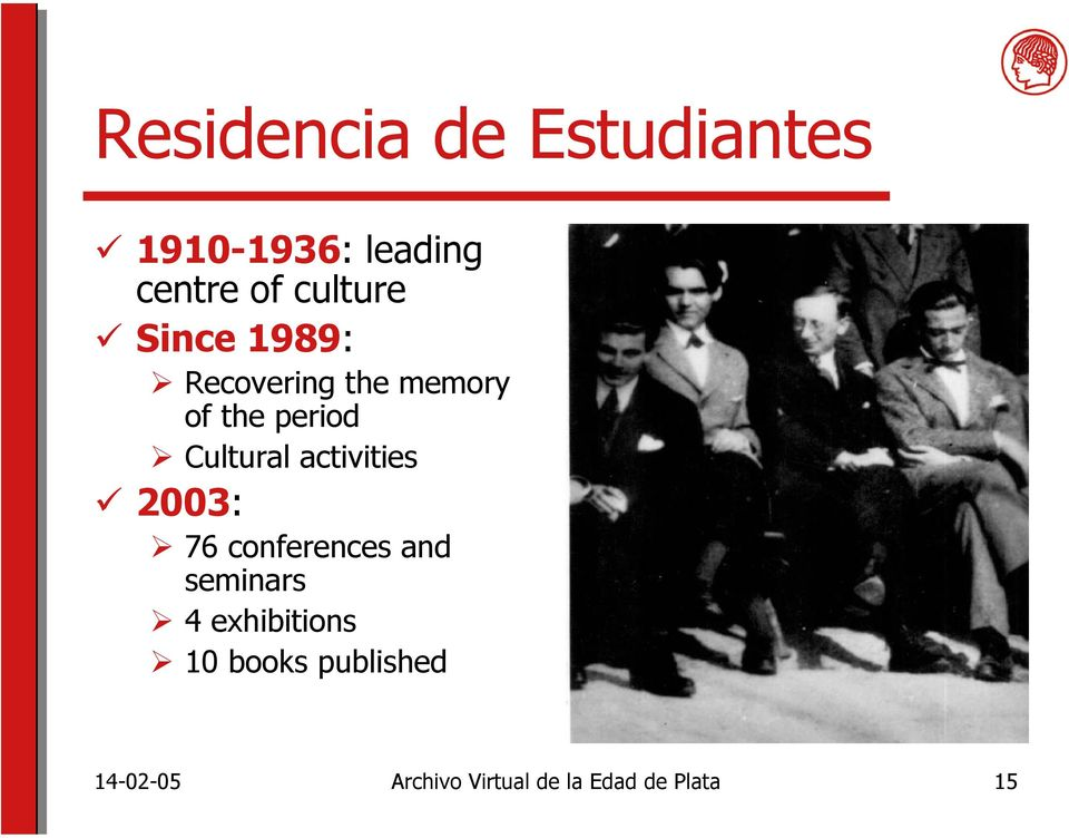 Cultural activities 2003: 76 conferences and seminars 4