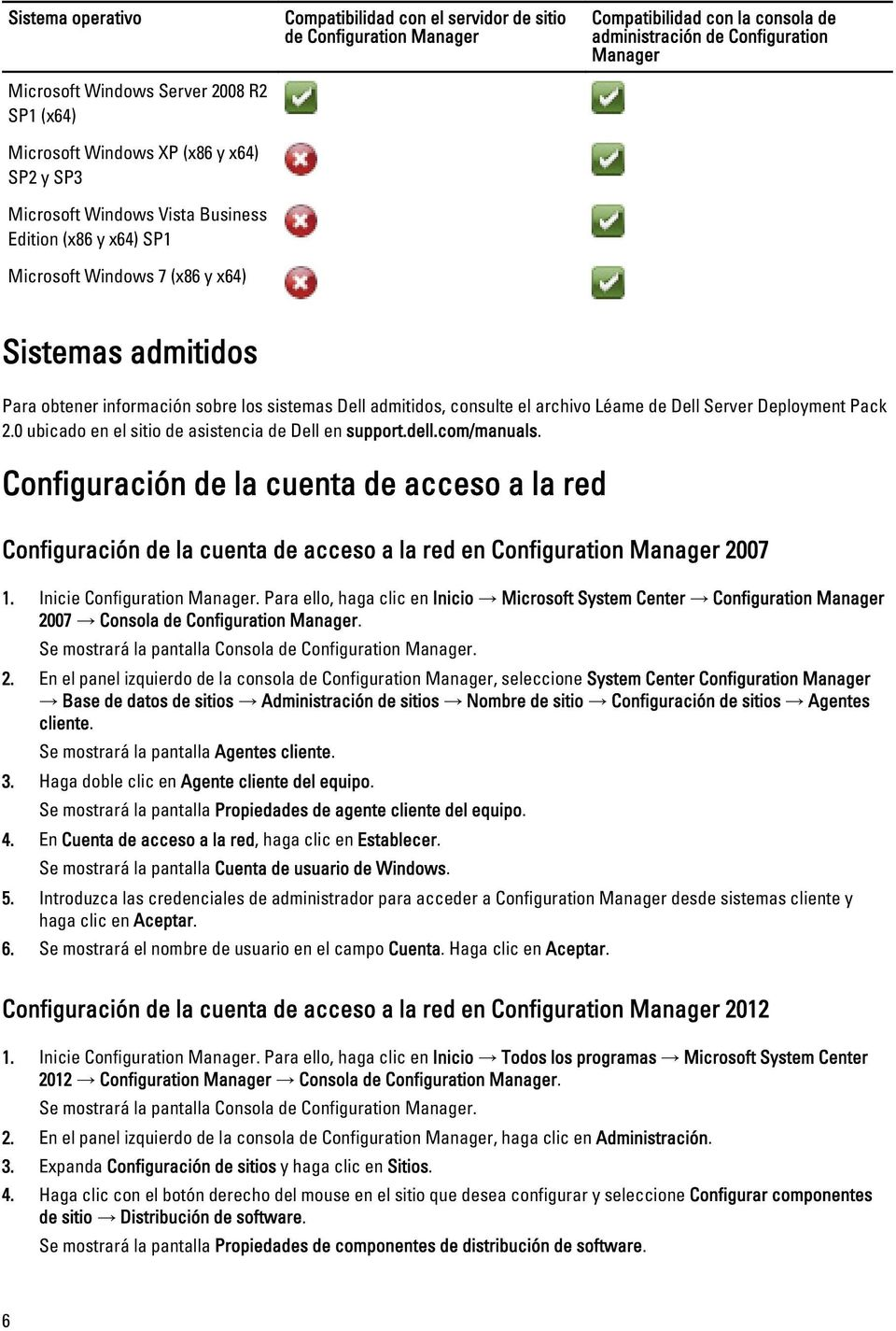 sistemas Dell admitidos, consulte el archivo Léame de Dell Server Deployment Pack 2.0 ubicado en el sitio de asistencia de Dell en support.dell.com/manuals.