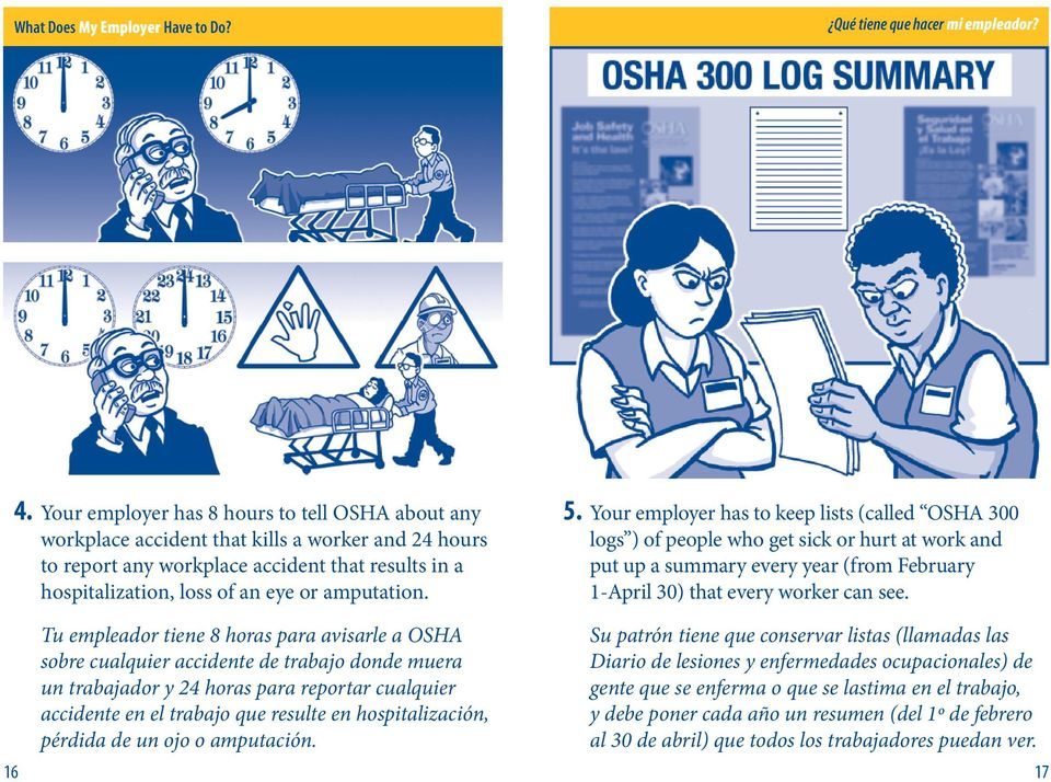5. Your employer has to keep lists (called OSHA 300 logs ) of people who get sick or hurt at work and put up a summary every year (from February 1-April 30) that every worker can see.