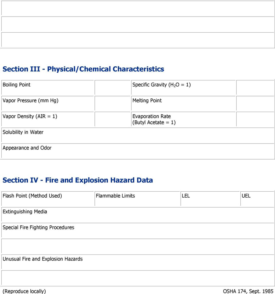 and Odor Section IV - Fire and Explosion Hazard Data Flash Point (Method Used) Flammable Limits LEL UEL
