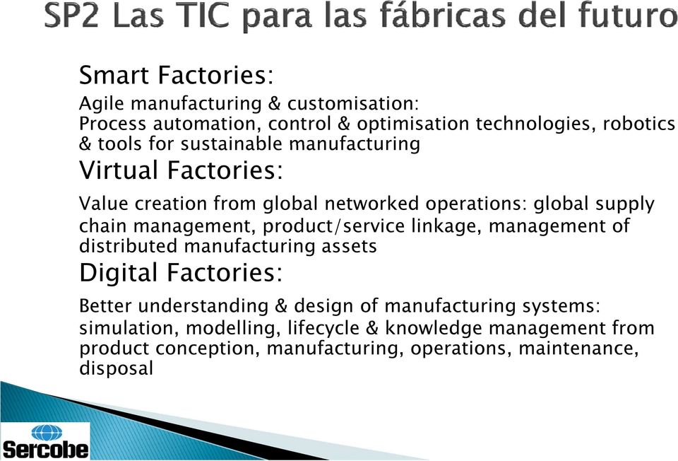 product/service linkage, management of distributed manufacturing assets Digital Factories: Better understanding & design of