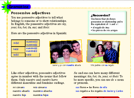 Nombre Fecha Clase Packet 4 Los adjetivos posesivos Capítulo 2A I. Remember these possessive adjetives from Realidades 1??? These are the short forms of the Spanish possessive adjectives.