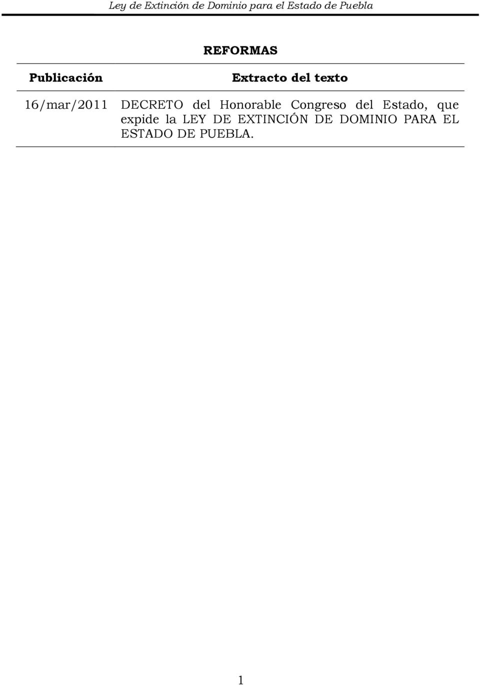 DECRETO del Honorable Congreso del Estado, que expide