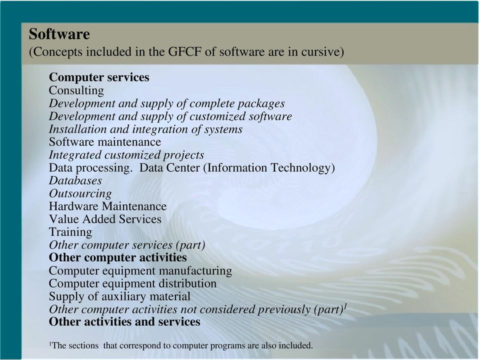 Data Center (Information Technology) Databases Outsourcing Hardware Maintenance Value Added Services Training Other computer services (part) Other computer activities Computer