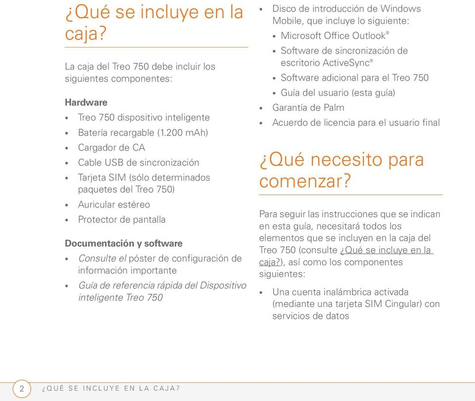 configuración de información importante Guía de referencia rápida del Dispositivo inteligente Treo 750 Disco de introducción de Windows Mobile, que incluye lo siguiente: Microsoft Office Outlook