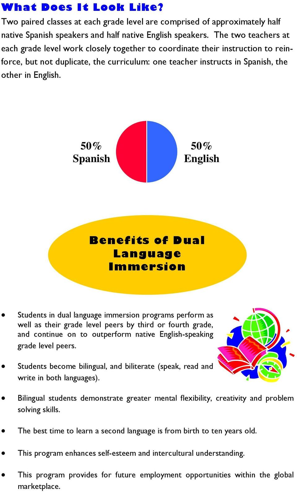 50/ 50 Design 50% Spanish 50% English Benefits of Dual Language Immersion Students in dual language immersion programs perform as well as their grade level peers by third or fourth grade, and