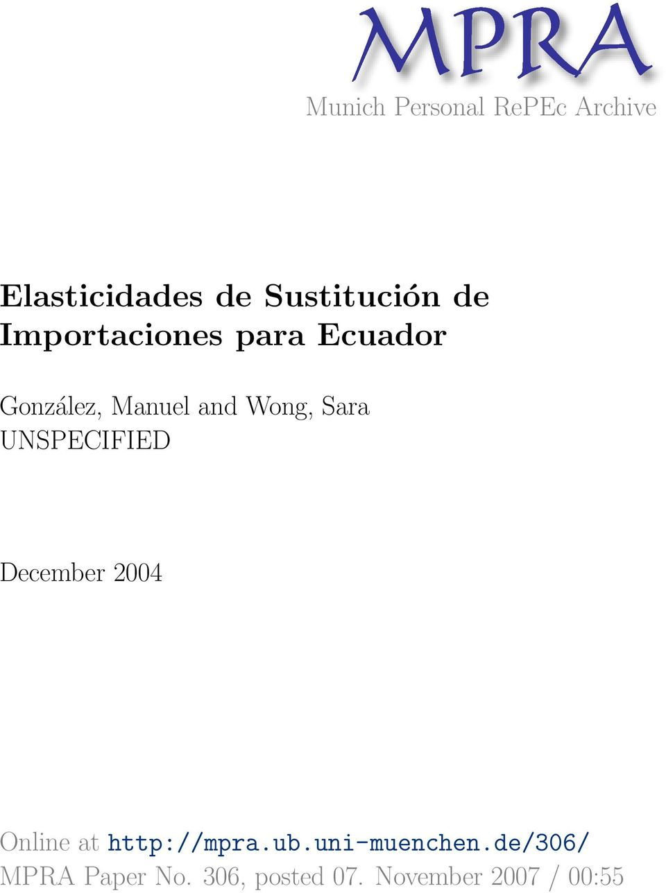 Wong, Sara UNSPECIFIED December 2004 Online at http://mpra.ub.