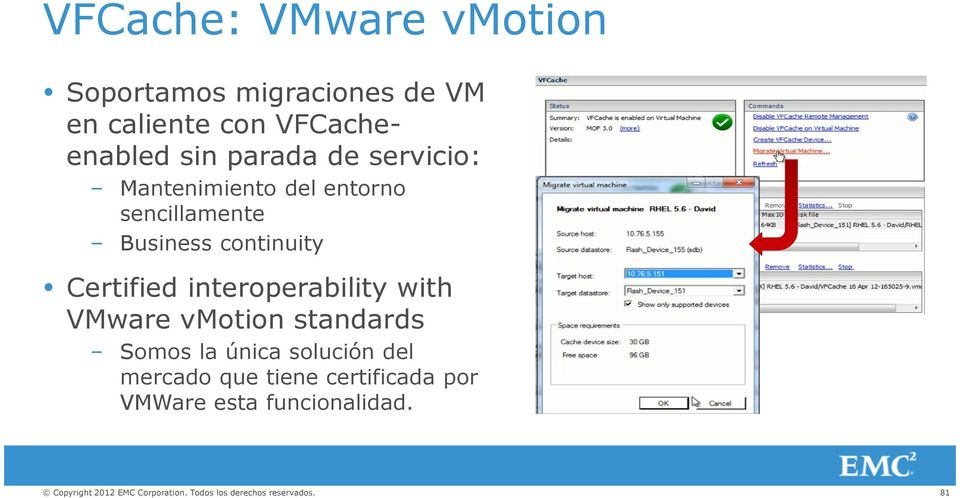 Business continuity Certified interoperability with VMware vmotion standards