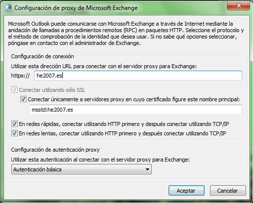 Configuración de proxy Exchange. 7.