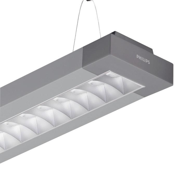 Versions EFix TPS262 suspended luminaire with matt aluminum optic with profiled lamellae (M2) EFix suspended mounted - 28 W - HF Standard