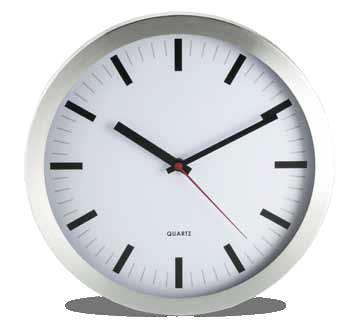 RE-93 WALL METAL CLOCK Reloj circular de pared, en aluminio. Colores: PlataTablero Blanco. Medidas: 35 cm diámetro.