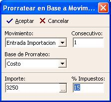 Prorratear en Base a Movimiento Prorratear en Base a Existencia Imagen Pantalla Prorratear en Base a Mov.