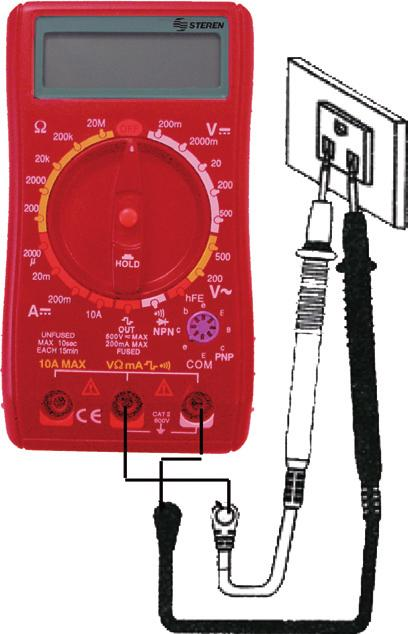 INSTRUCTIONS MEASURING DC / AC 1.- Connect the red testing point to the jack signaled VΩmA and the black testing point to the jack signaled COM. ENGLISH 2.