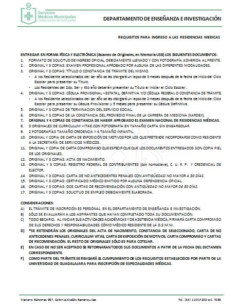 Documentación: 25 de enero 2016 Anexo 02: Requisitos para Ingreso a residencias
