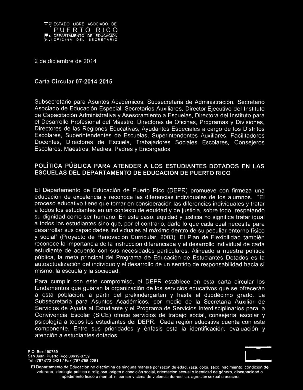 Carta circular de educacion sexual