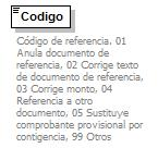 element NotaCreditoElectronica/InformacionReferencia/Codigo type restriction of xs:string facets Kind Value Annotation 01 Anula documento de referencia 02 Corrige texto de ocumento de referencia 03