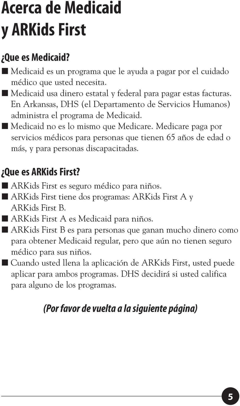 Arkansas Medicaid, ARKids First de Arkansas. Usted. Manual Del ...